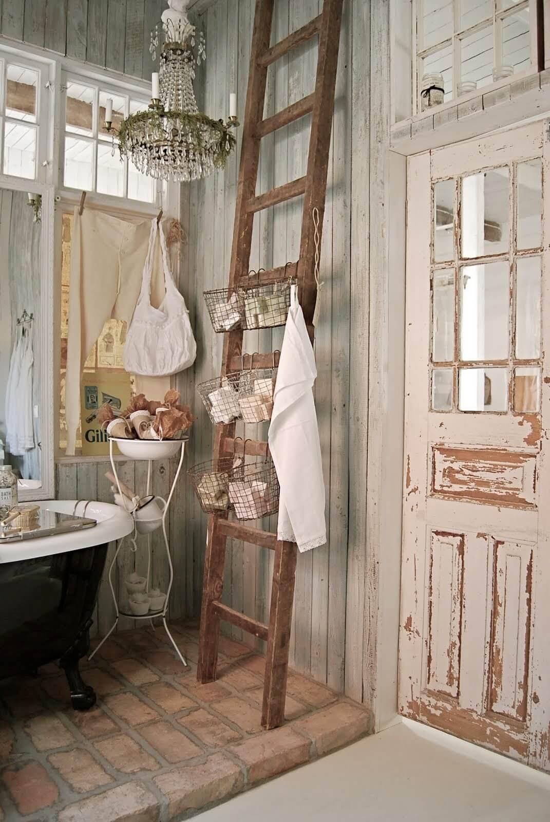 Bathroom Ladder Toiletry Organizing Baskets