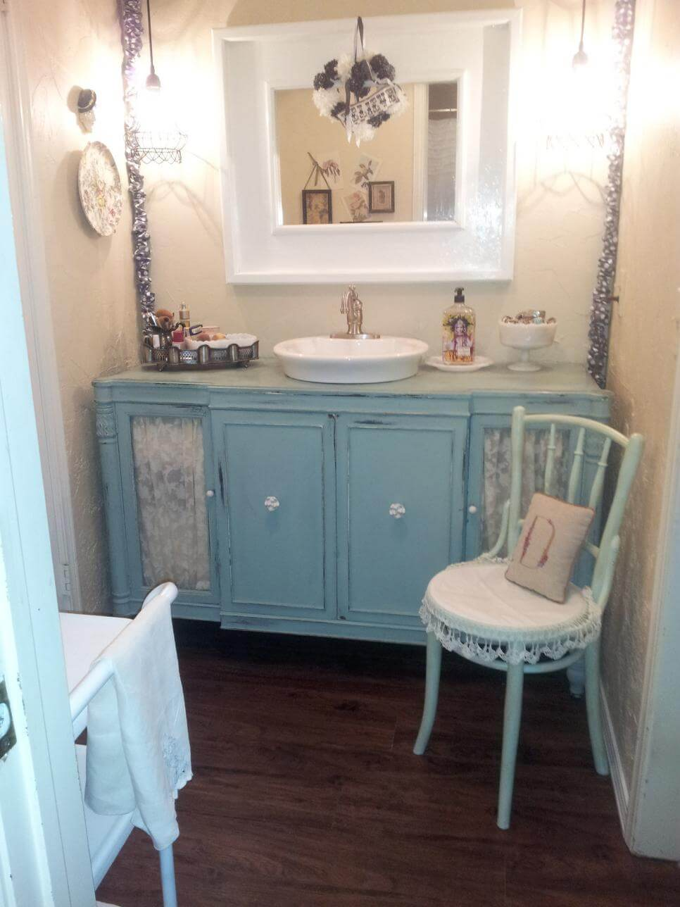 Shabby Chic Bathroom Vanity with Lace Features