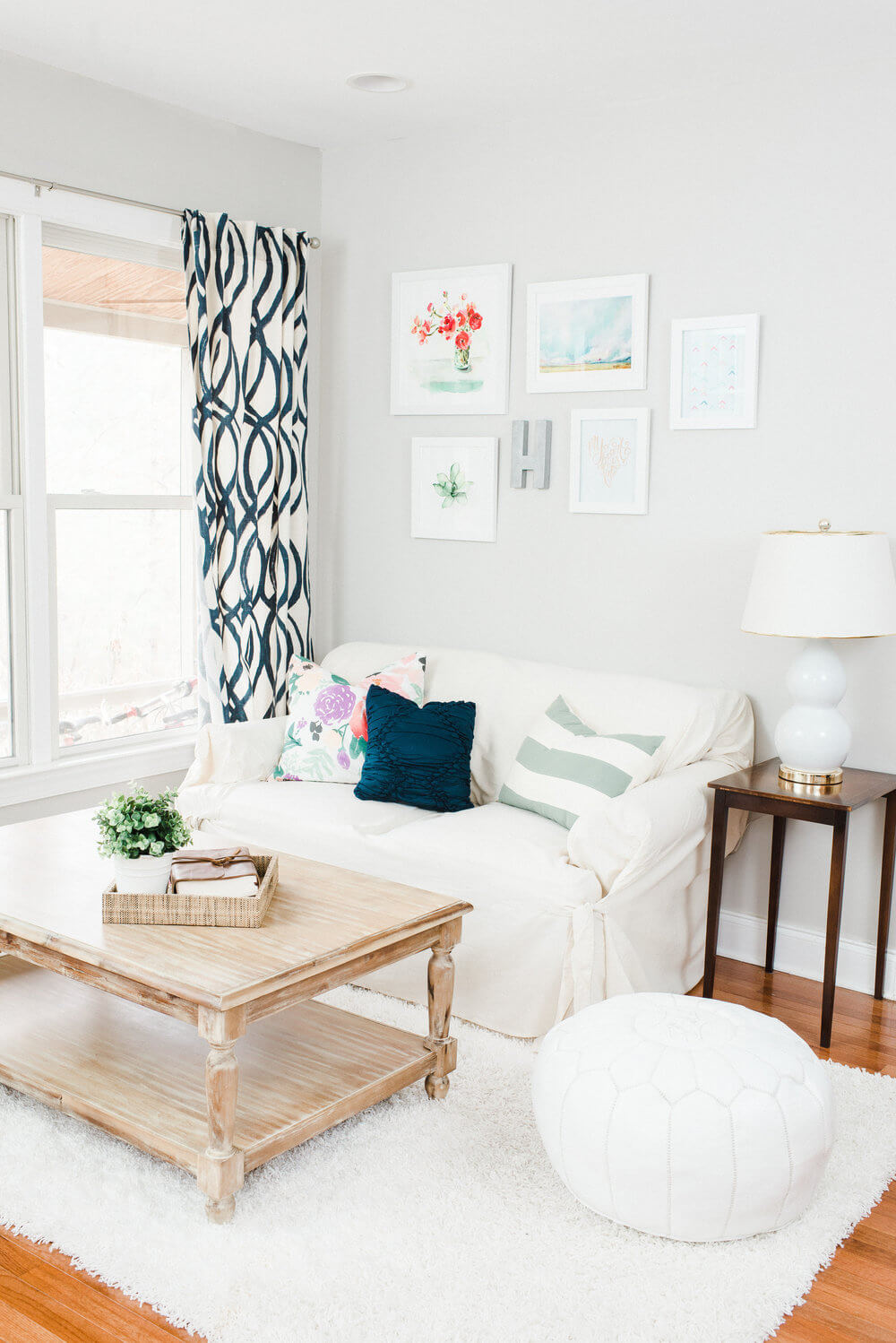 White on White with Patterned Curtains