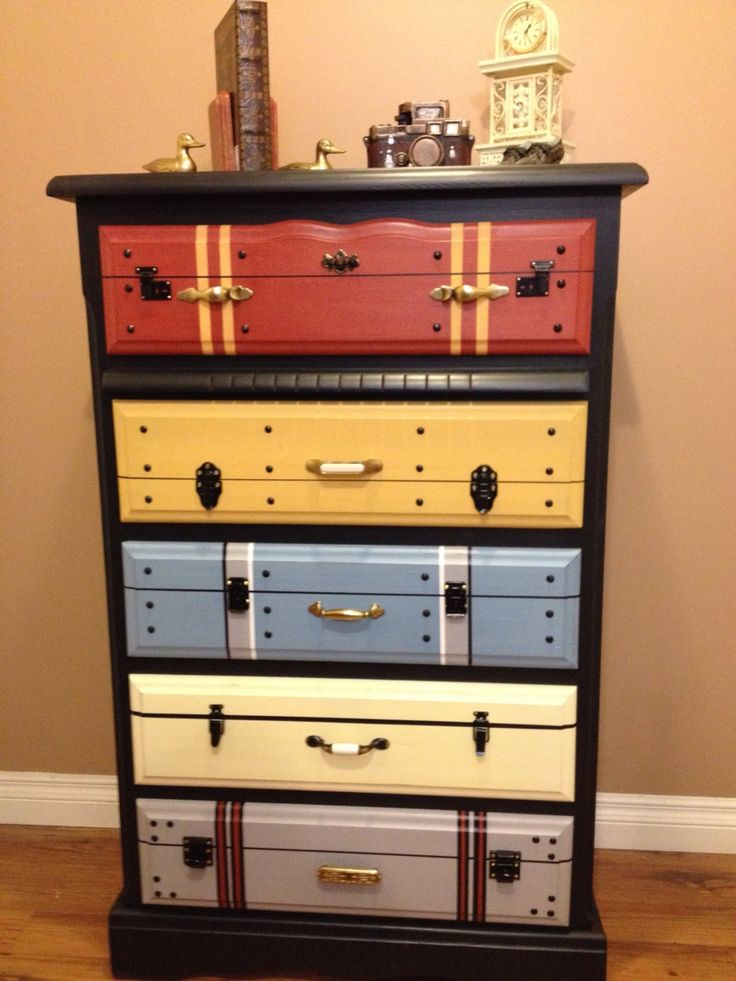 Bureau With Drawers Painted to Look Like Vintage Luggage