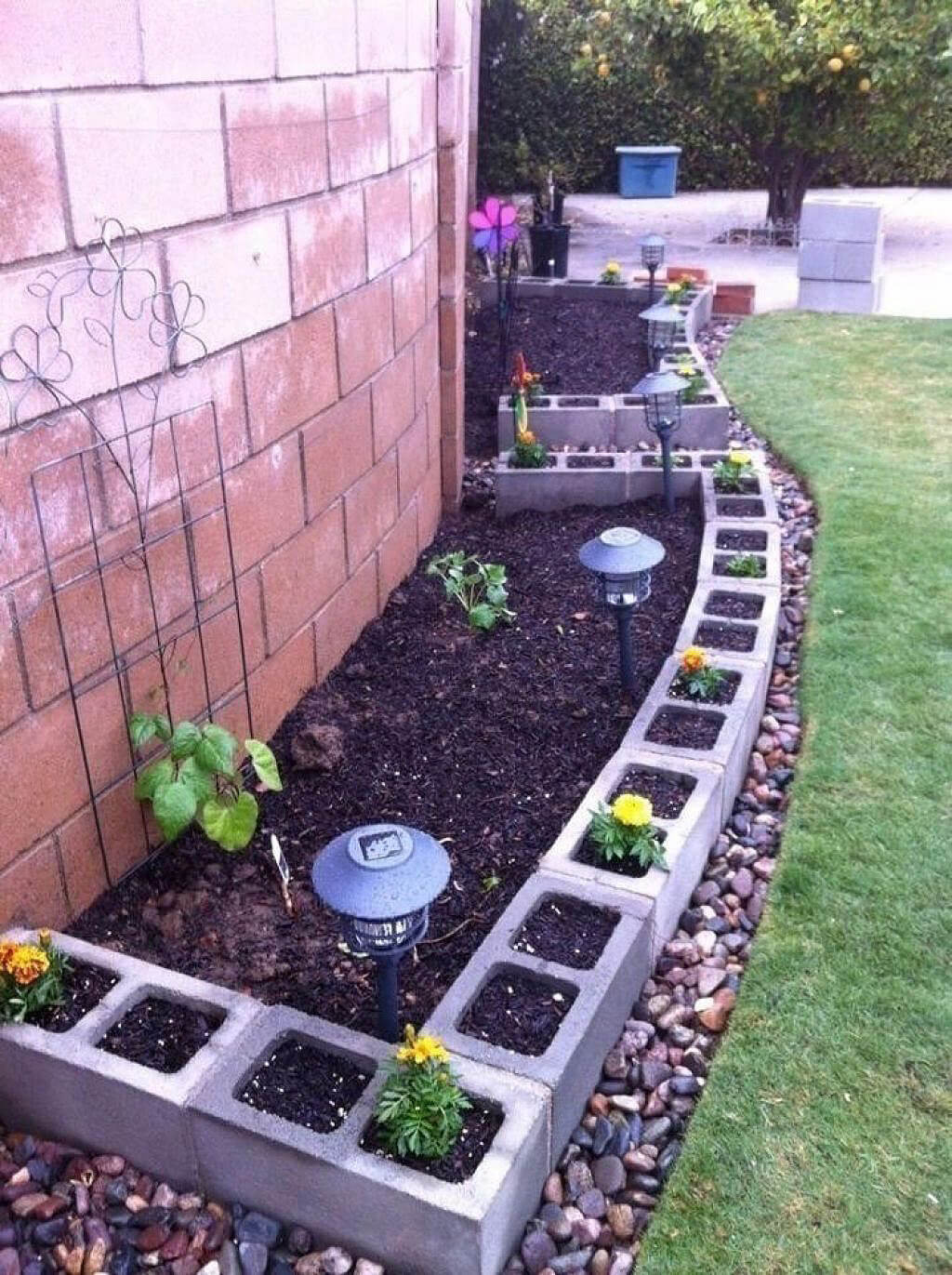 Versatile Cinder Block Planters and Garden Border