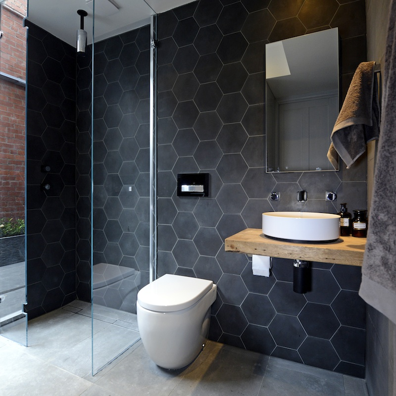 Black Honeycomb Wet Room Design