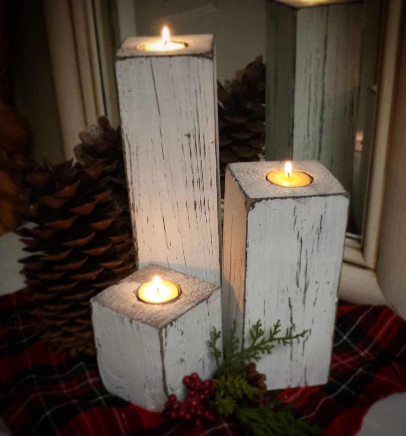 Trio of Distressed Candle Stands