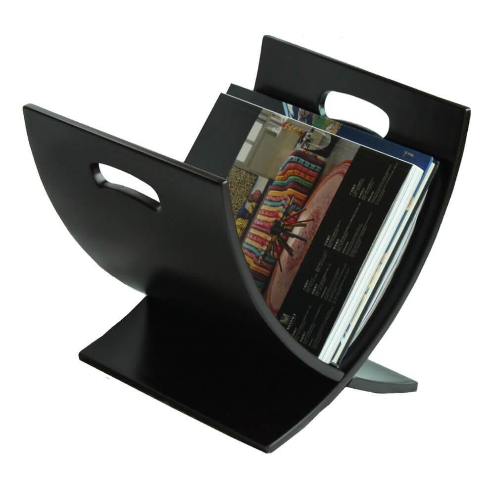 Black Contemporary Wood Magazine Rack