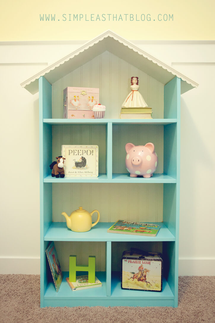Child's Dollhouse DIY Bookshelf with Pitched Roof