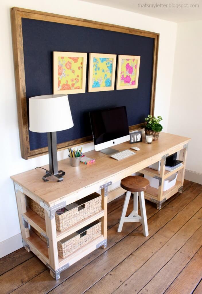 Long Desk with Built In Basket Storage