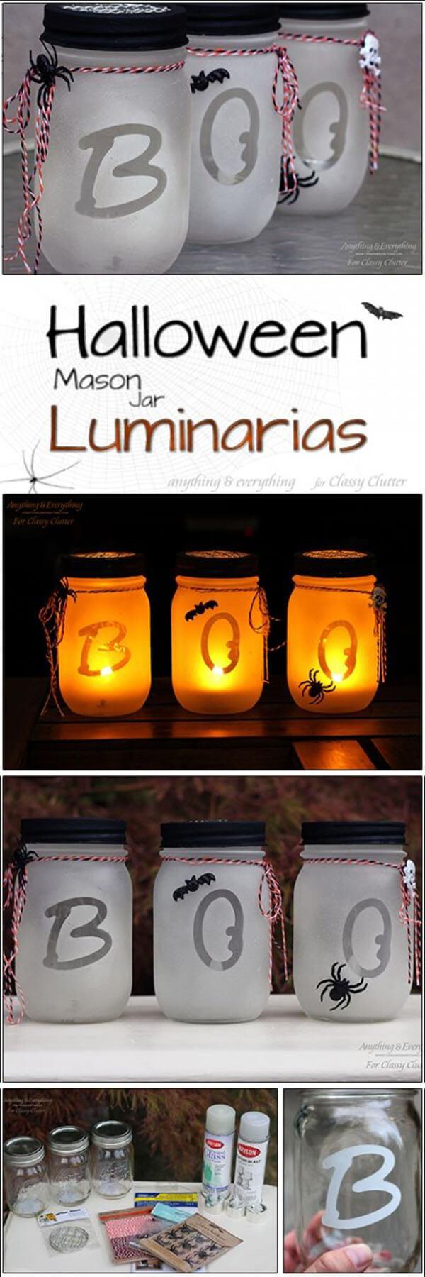 """Easy """"Boo"""" Halloween Mason Jar Crafts"""