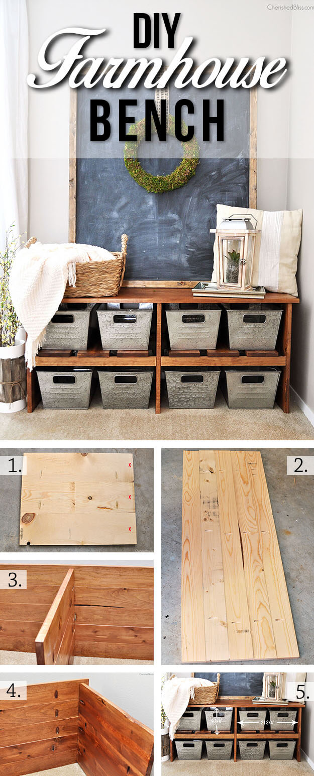 DIY Farmhouse Bench With Bins