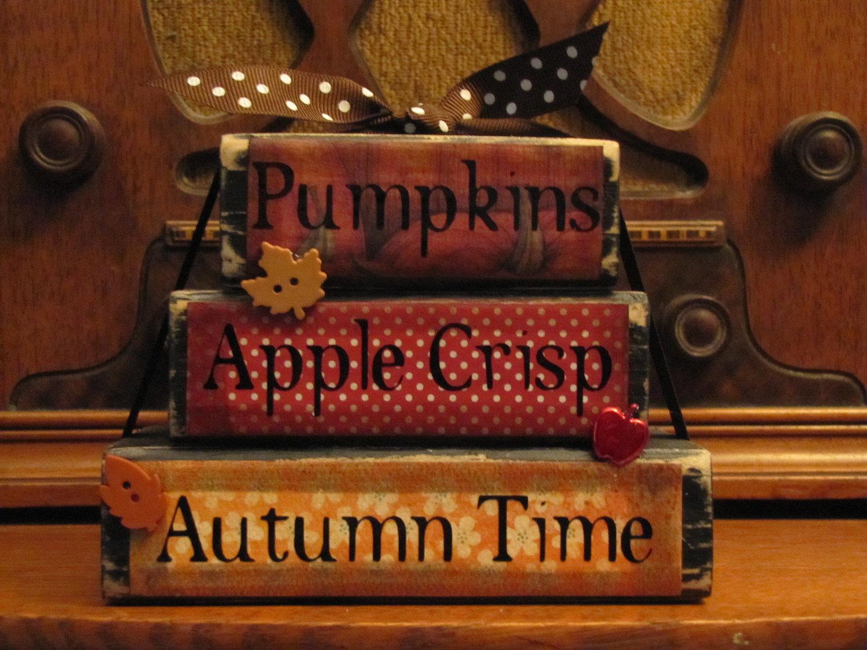 'Pumpkins, Apple Crisp, Autumn Time' Fall Sign