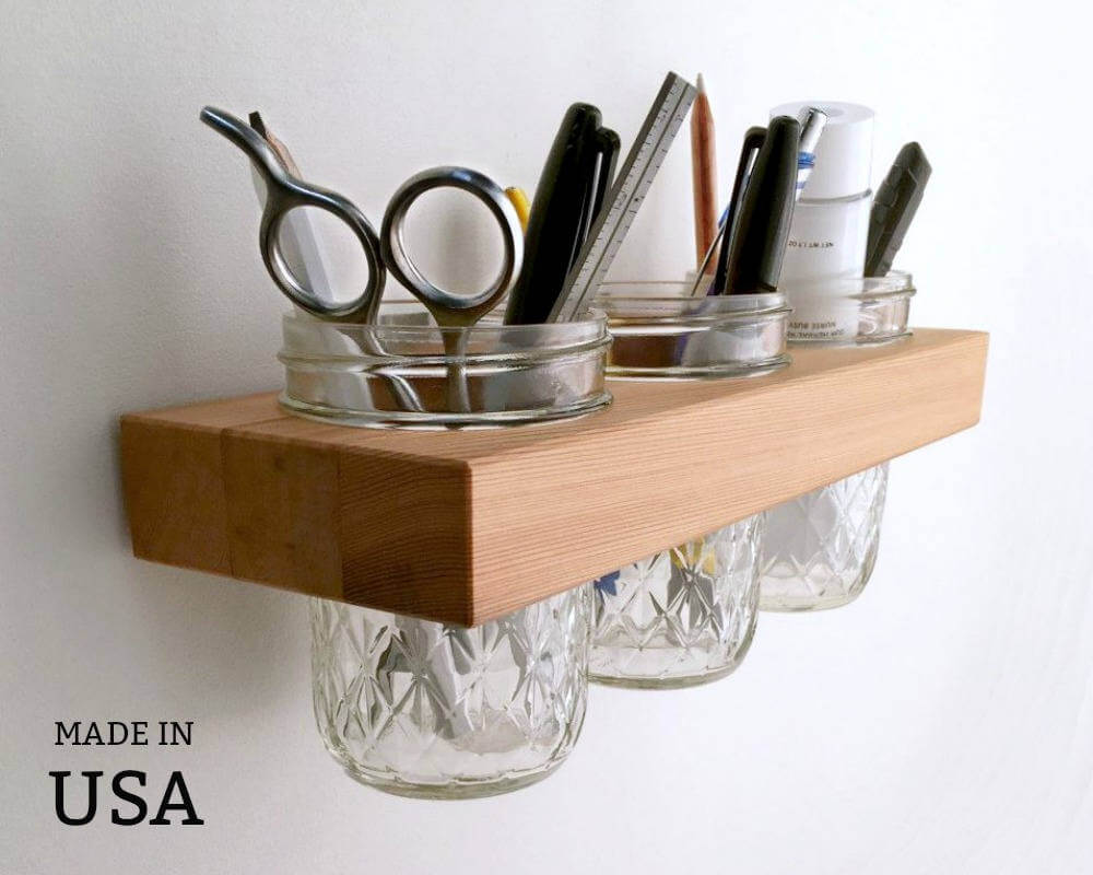 Floating Shelf with Mason Jar Storage Holder