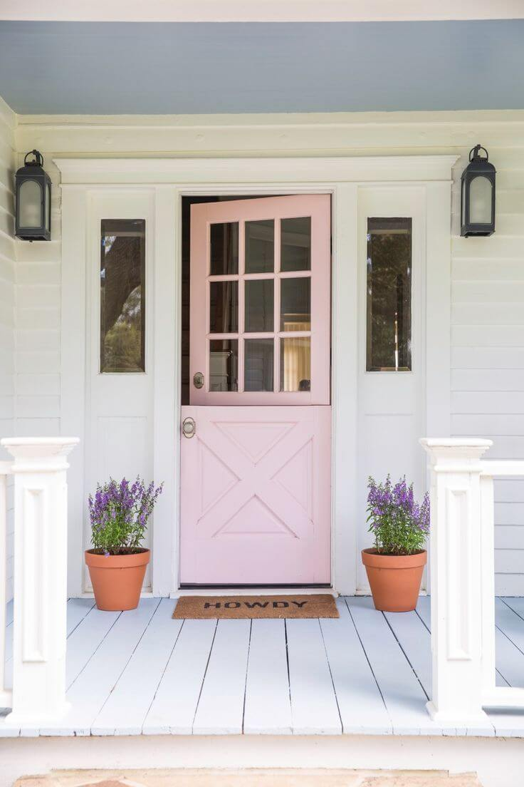 Pretty In Pink Front Door With Lavender Pots