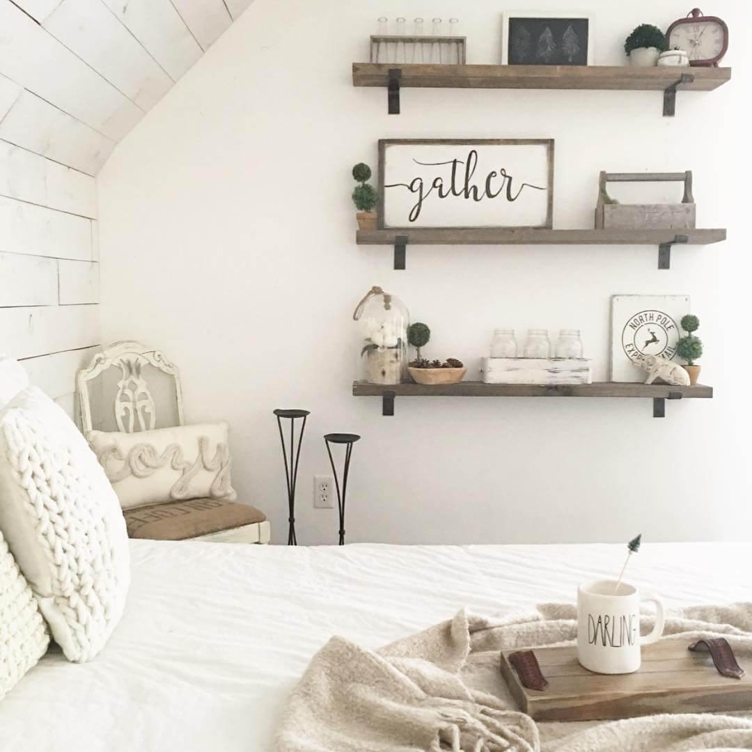 Farmhouse Shelf Decor Idea with Lettered Sign