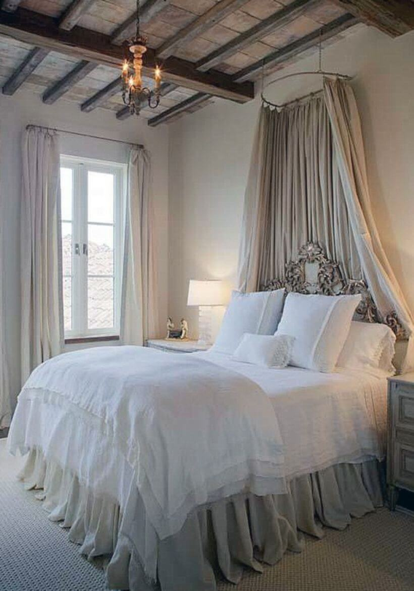 Royal Canopied Bed with White Linens