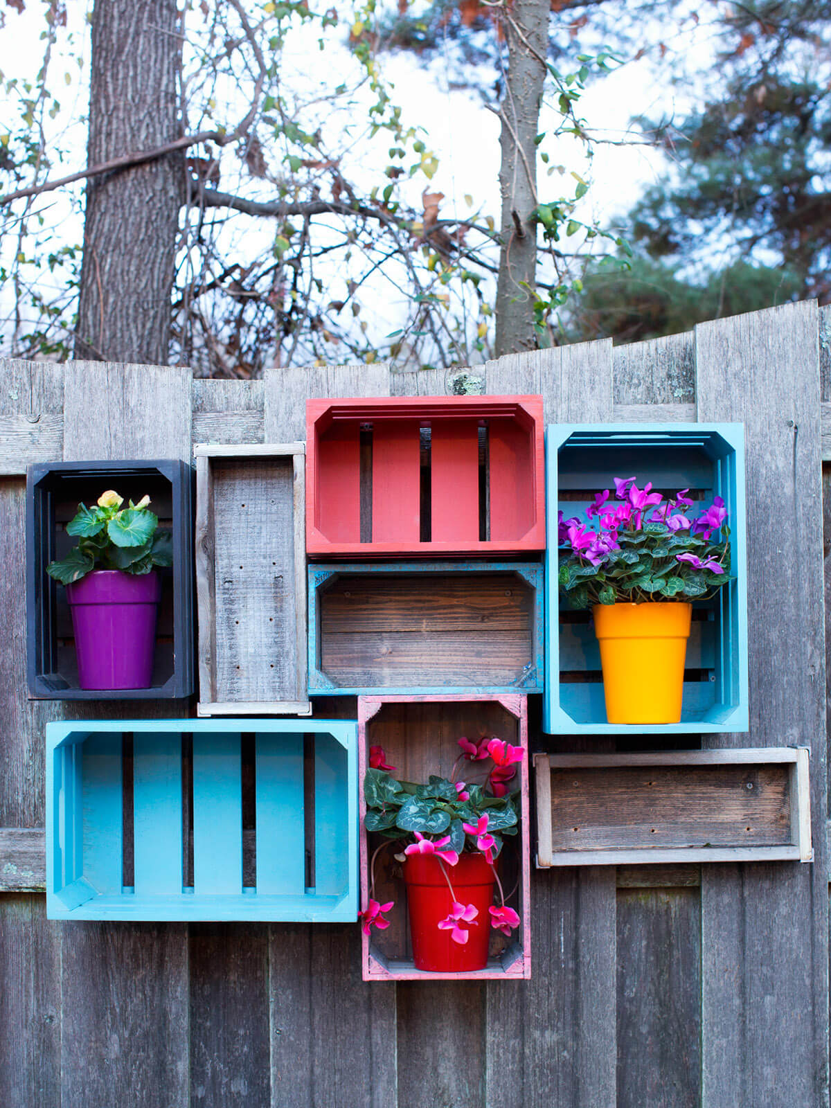 Pretty Arrangement of Painted Crates