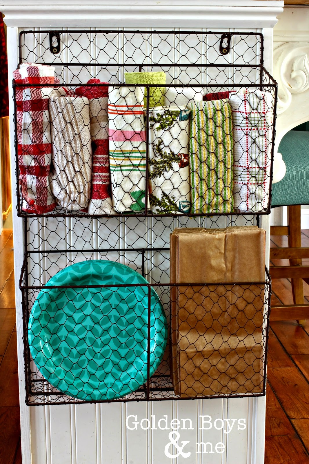 Wire Baskets on the Sides of Cabinets to Store Items