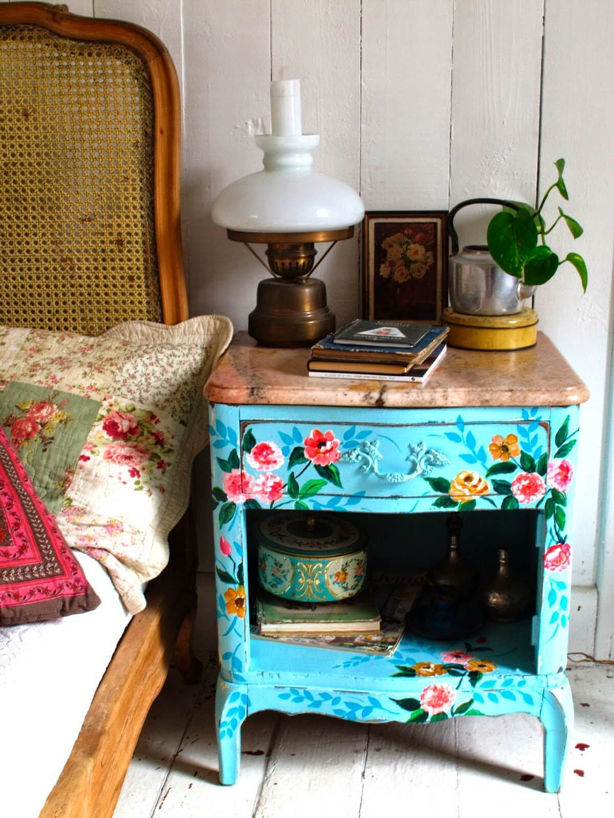 Aqua Blue Nightstand with Brilliant Florals
