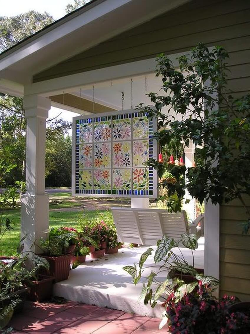 Glorious Painted Window Hanging by the Swing