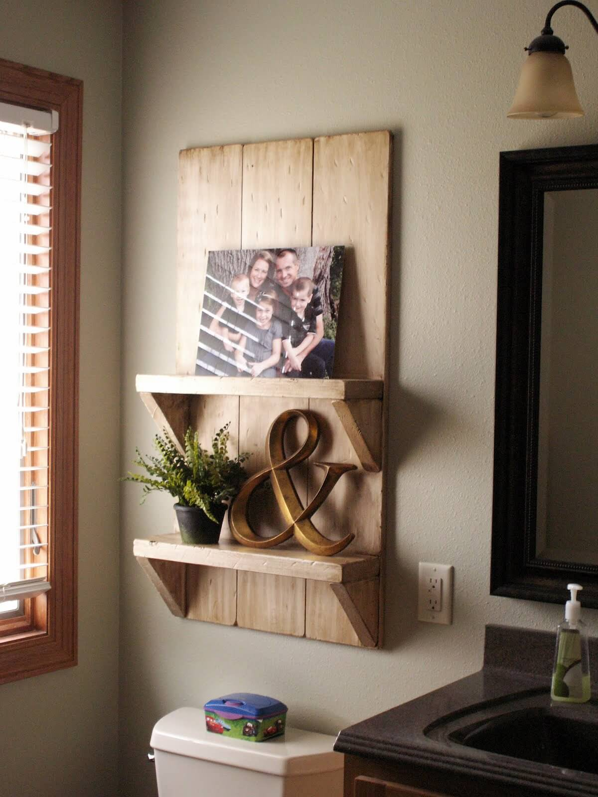 Rustic Barn Board Bathroom Shelves
