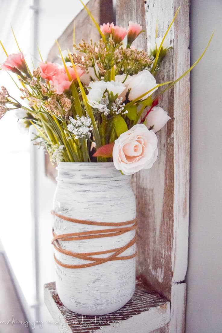 Mason Jar Blush Pink Flower Arrangement