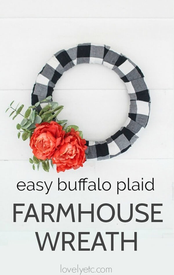 Buffalo Plaid Wreath with Blooms and Eucalyptus