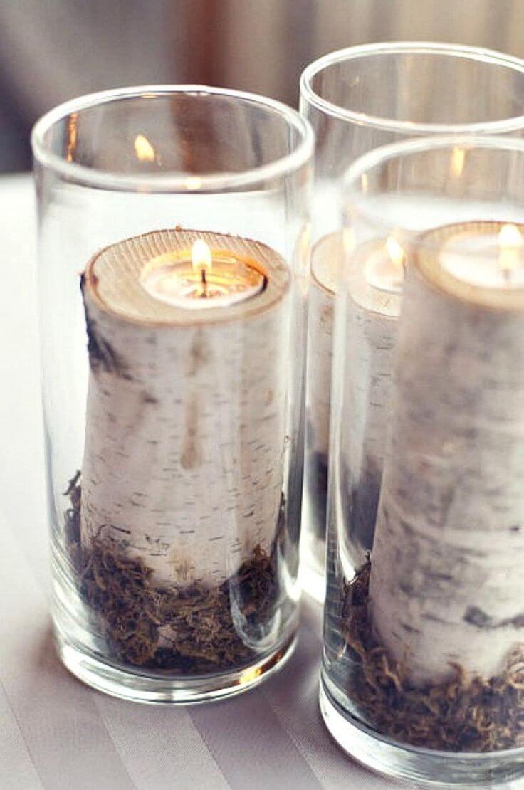 Woodsy Seasonal Birch Framed Tea Light