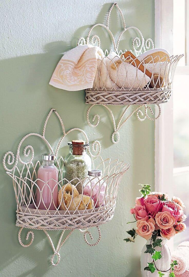 Mounted Wire Basket Bathroom Storage
