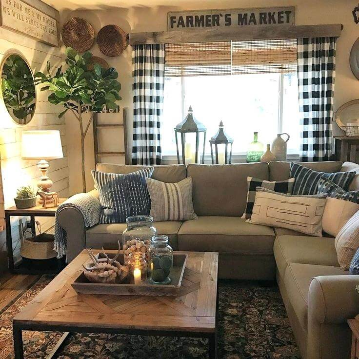 Inviting Farmhouse Living Room with Buffalo Plaid