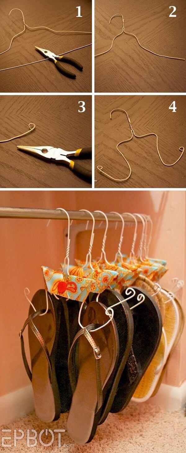 Adorable Hanger Hack for Sandal Storage