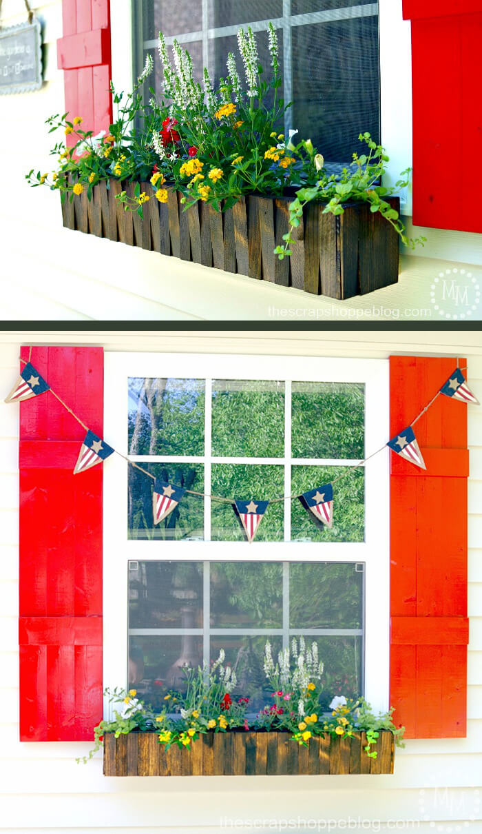 Natural Wood Picket Fence Style Flower Box