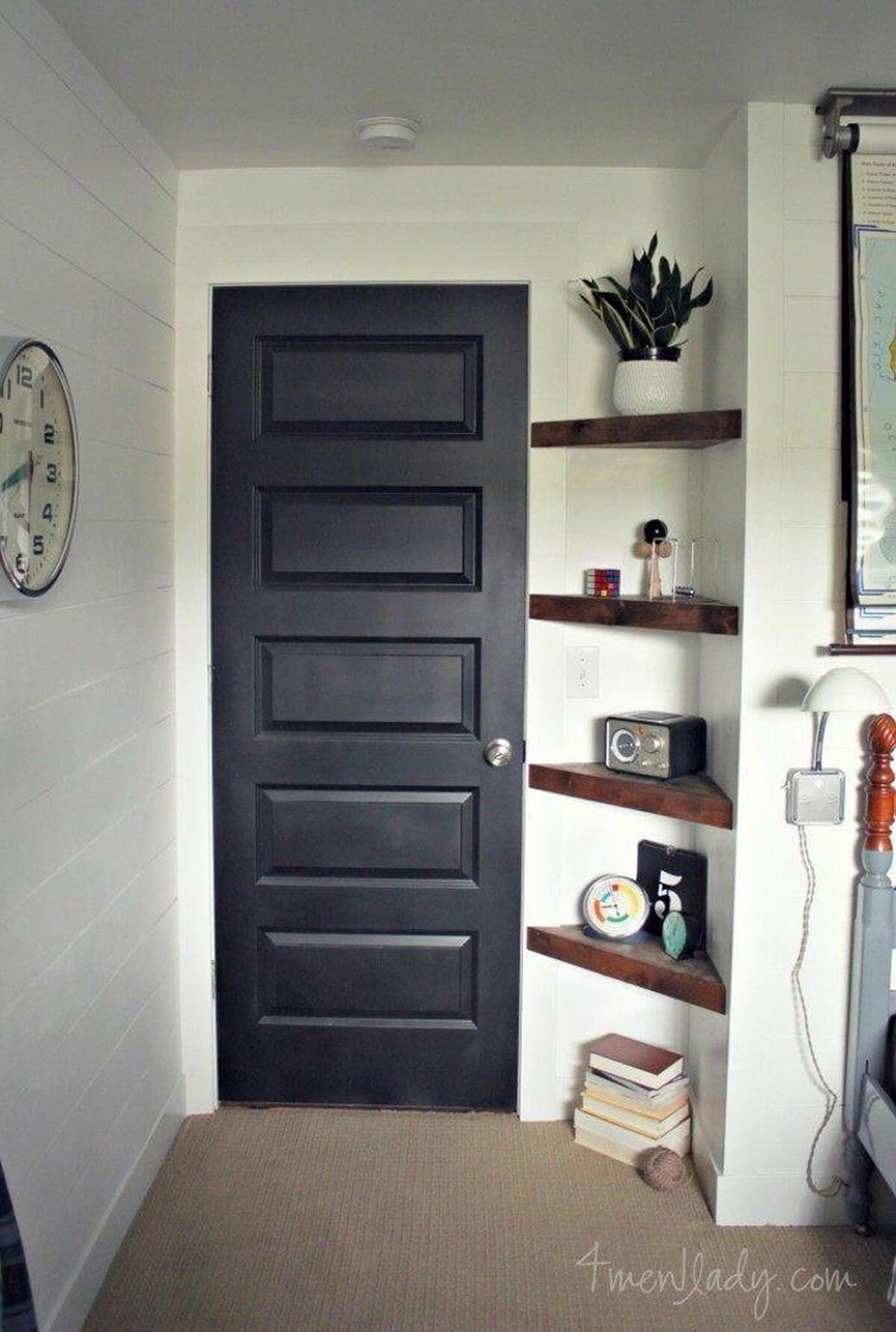 Well Fitted Set Of Triangular Corner Shelves