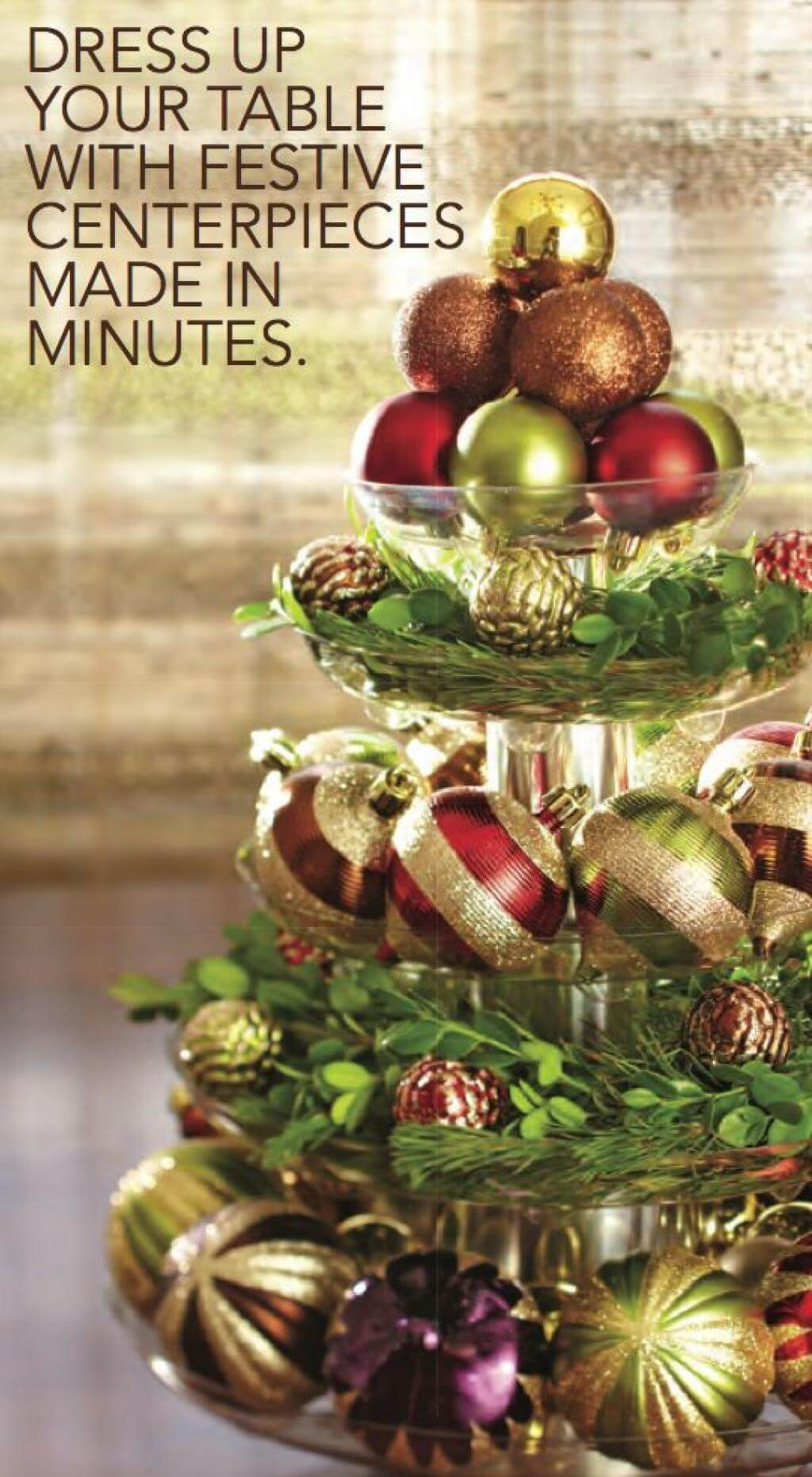 Five-tier Ornament Centerpiece With Boxwood Greenery