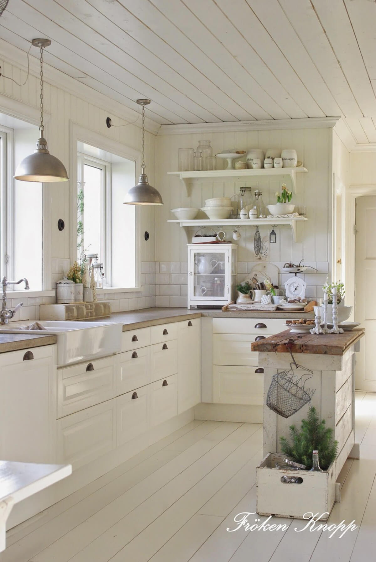 Whitewashed Planks Cottage Kitchen