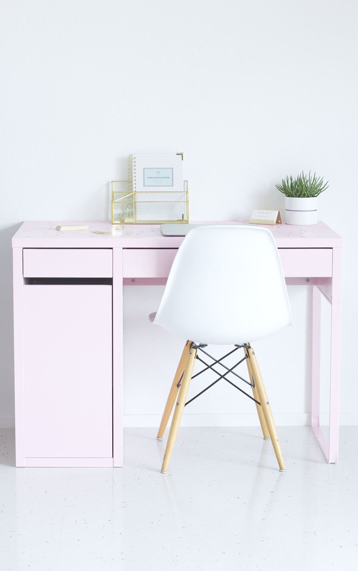 Pink Desk with Drawers and Storage