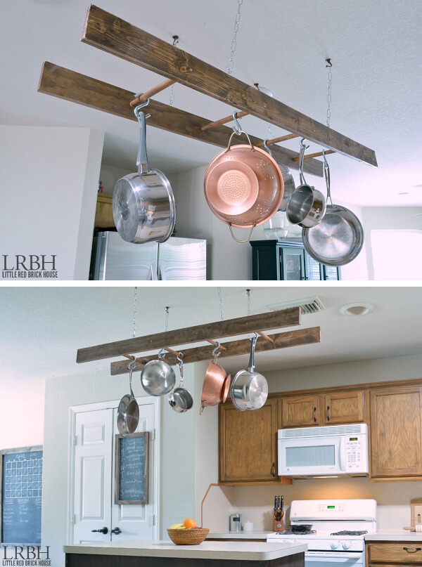 Old Ladder Made into Pot Rack