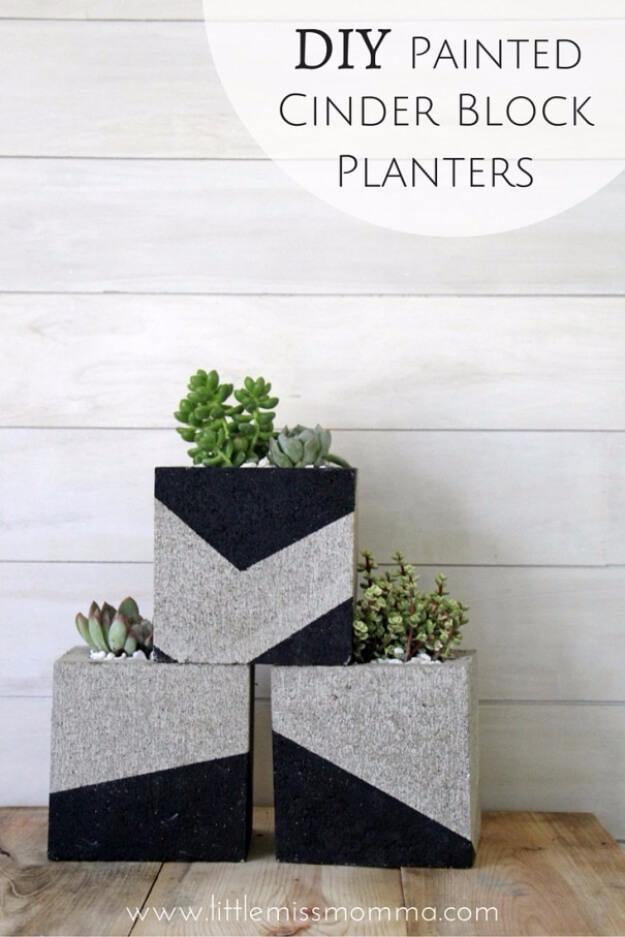 Industrial Look Cinder Blocks with Succulents