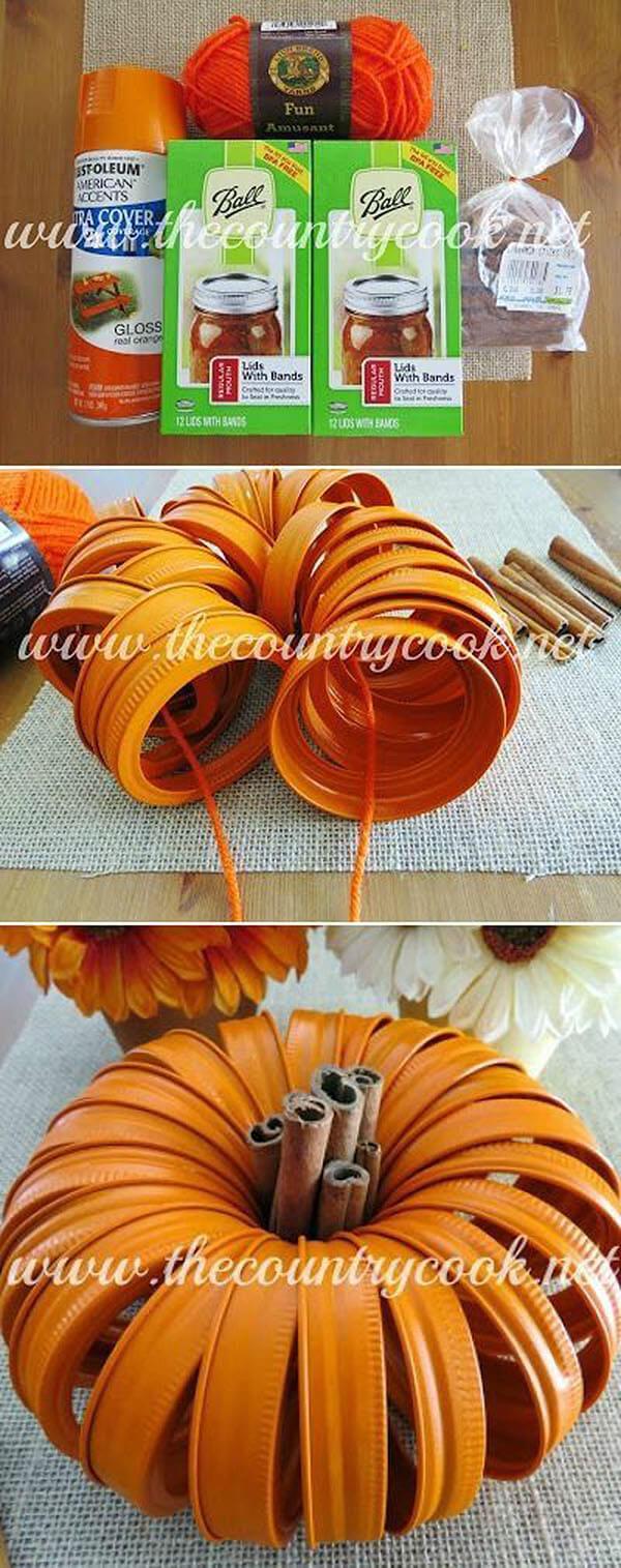 Cute Mason Jar Lid Pumpkin