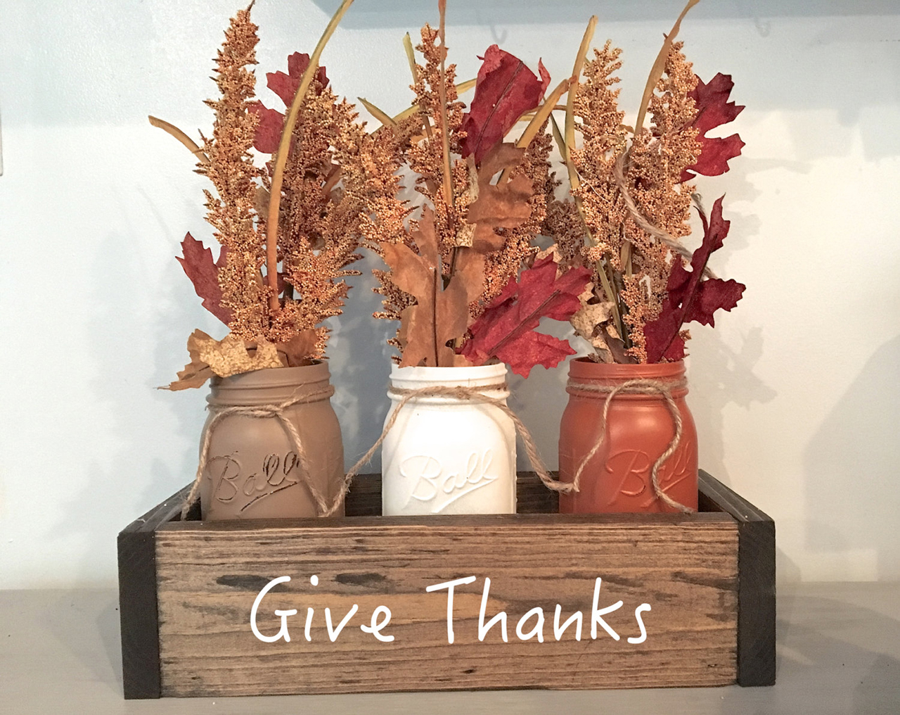 Painted Mason Jar Crate with Hand-tied Fall Foliage Bouquets