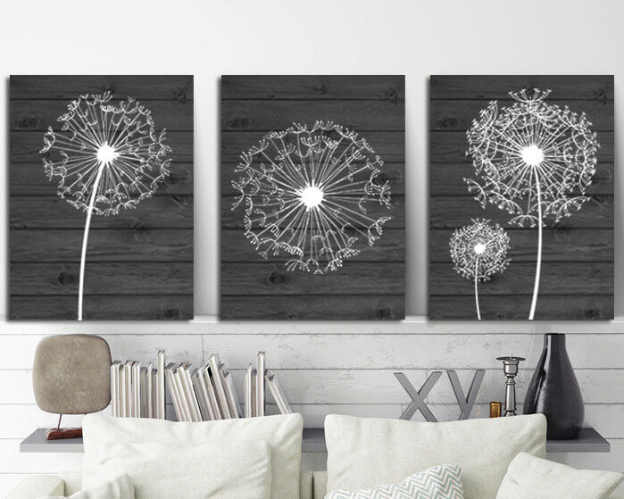 Dandelion Canvas Printed Gray-backed Wall Art