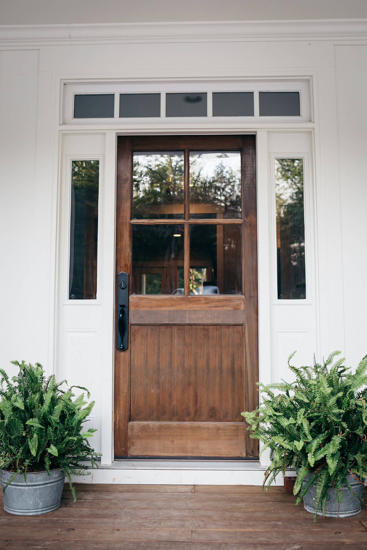 Rustic Wood Panelled Farmhouse Front Door Ideas