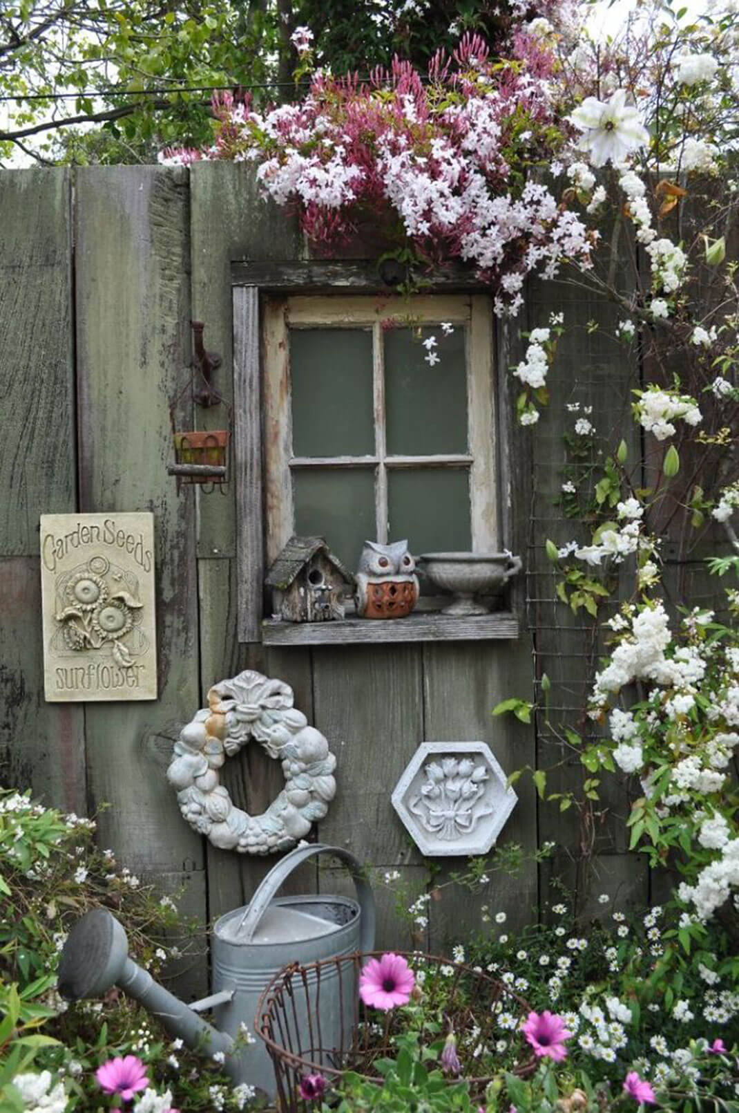 Garden Window Scene with Cute Owl Statue