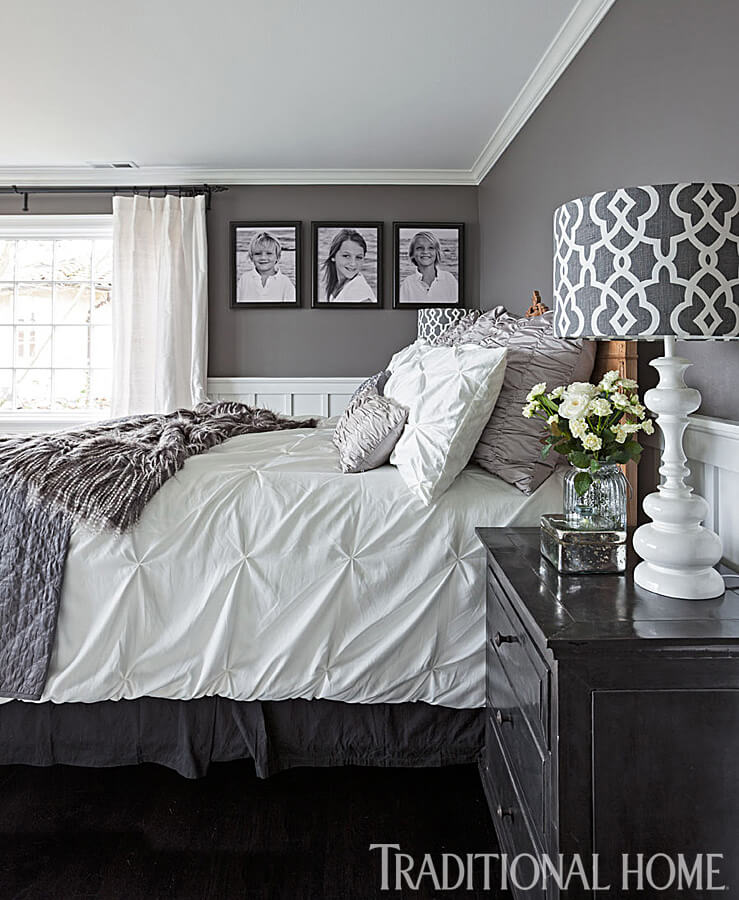 Layers of Texture Complete this Clean White and Effortless Grey Bedroom