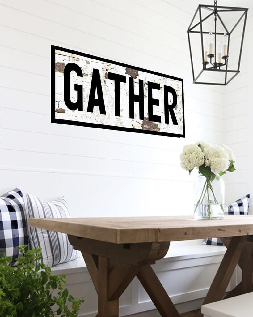 "Bold ""Gather"" Sign on Distressed Wood"