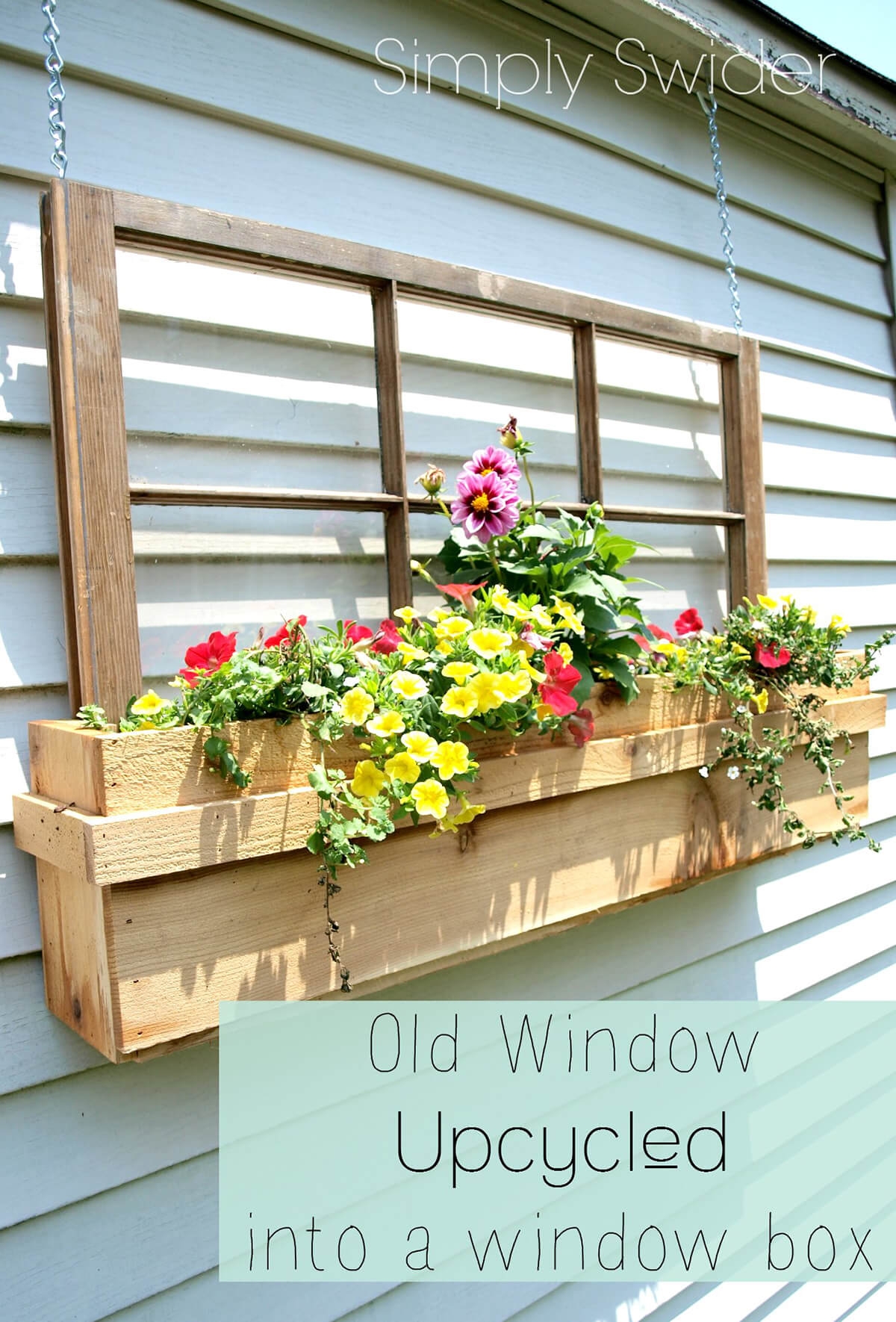 Upcycled Window Frame with Blooming Flowers