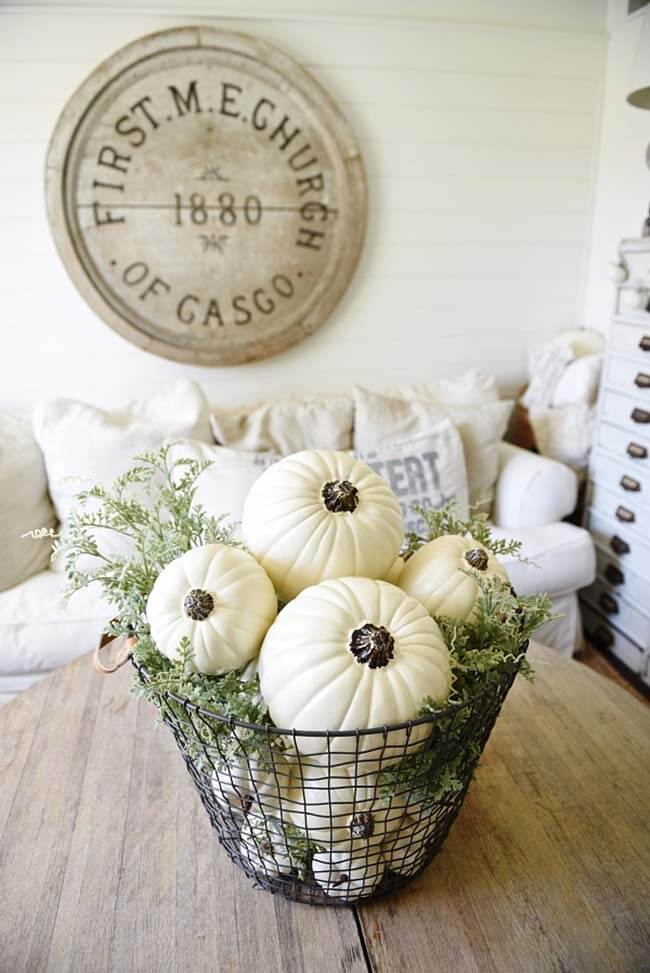 A Simple Wire Basket Filled with Pumpkins