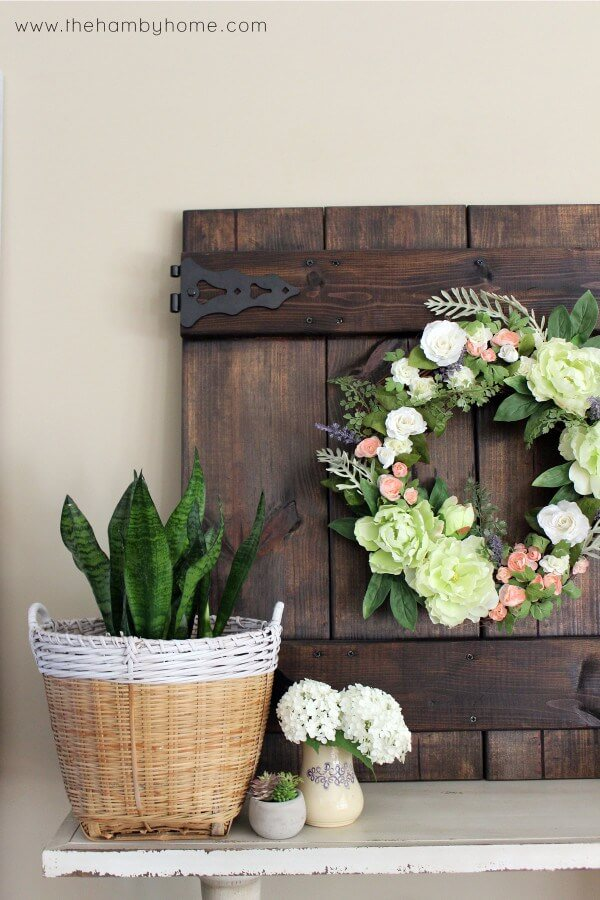 Floral Wreath with Greenery and Basket Planter
