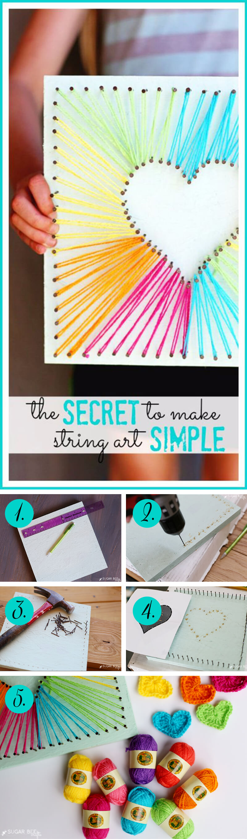 Colorful and Fun Heart String Art