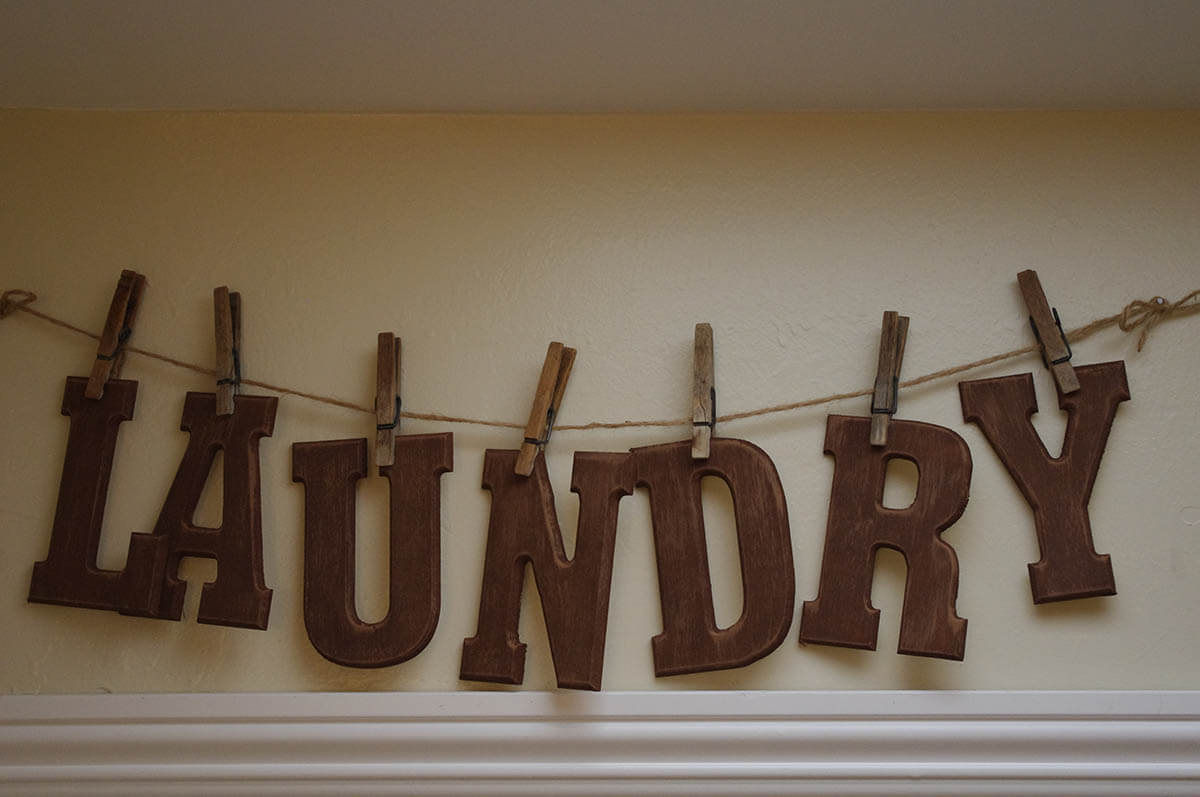 Wood Letter Clothesline Laundry Sign