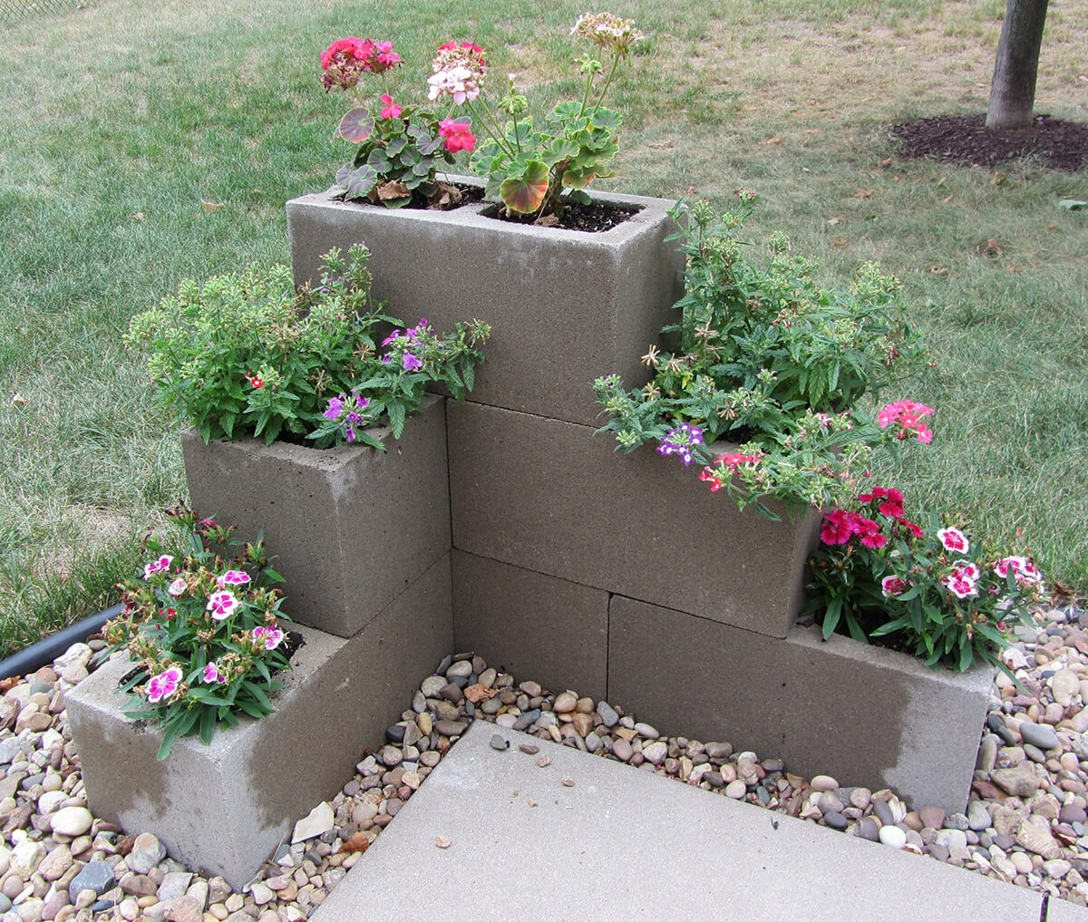 Cinder Block Tiered Flower Pots