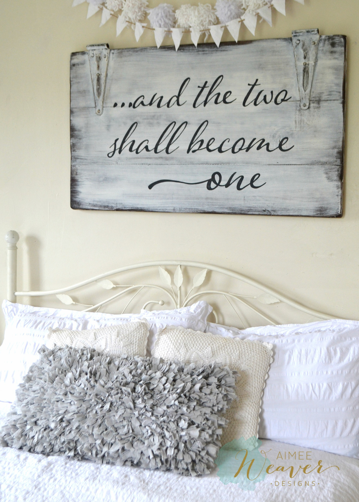Whitewashed Door Panel Marriage Quote