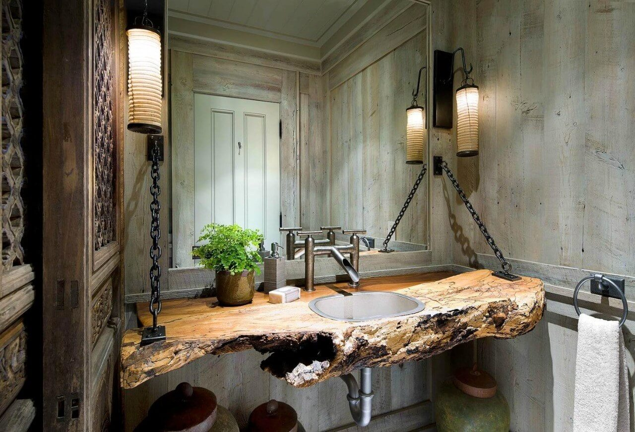 Rustic Natural Edge Counter with Chain Detail
